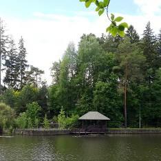 Панорама большого озера, поселок Николино